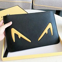 Fendi New fashion letter leather cosmetic bag file package handbag Black
