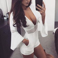 Pagoda Sleeve V Neck Women Trousers 2017 New Fashion Female Womens Ladies Clubwear Summer Playsuit Bodycon Party Jumpsuit Romper