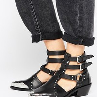 ASOS ARCTIC Leather Western Cut Out Boots at asos.com