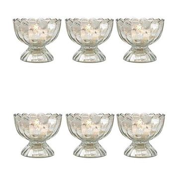 6 Pack   Vintage Mercury Glass Candle Holder (3-Inch, Suzanne Design, Sundae Cup Motif, Silver) - For Use with Tea Lights