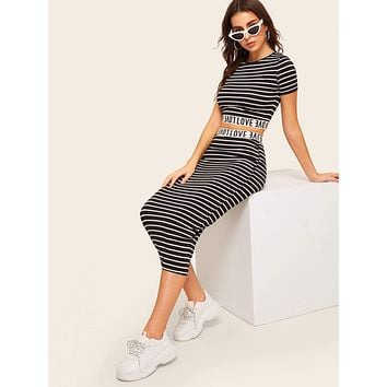 SHEIN Letter Tape Striped Crop Top and Pencil Skirt Set