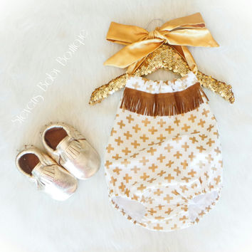 Gold Cross Sunsuit Fringe Romper