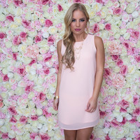 No Stopping Shift Dress In Blush Pink