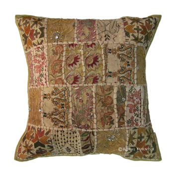 Green Antique India Patchwork Cotton Throw Pillow Sham
