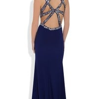 Long Prom Dress with Decorative Sequin Open Back and Side Slit Mobile