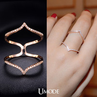 Cubic Zirconia Stacking Ring Double Chevron Ring Cubic Zirconia V Ring Statement Ring Long Finger Ring Rose Gold Ring Micro Pave Ring