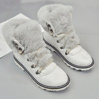 White Round Toe Flat Faux Fur Patchwork Fashion Ankle Boots