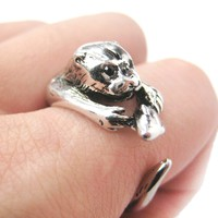 Otter Holding a Fish Shaped Animal Wrap Around Ring in Shiny Silver | US Sizes 4 to 9