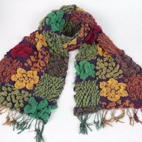 Vintage Square Knitted Tassels Embroidered Scarf Floral