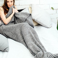 Solid Color Knitted Mermaid Tail Blanket Christmas Gift