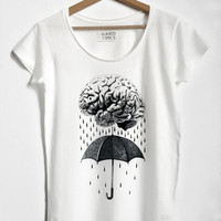BRAINSTORM, Women's shirt, Human brain t-shirt, Human anatomy art, medical science shirt, steampunk clothing, design shirt, vegan clothing