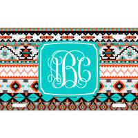 Custom Personalized License Plate Car Tag Teal Aztec Tribal Vine Monogram Sorority 16th Birthday Girls Gift Aluminum Front Car Plate LP-1005