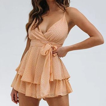 Strap Print Romper Women Bow Backless Chiffon Sexy Romper Casual Short Jumpsuits Rompers