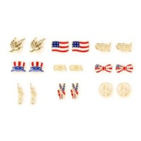 Stars and Stripes Stud Earrings Set of 9 | Claire's