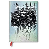 Boats and Reflections Midi Unlined Notebook Alistair Bell Collection NTB