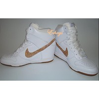 Dunks - Mail In - Champagne Rhinestone Swoosh White Nike Dunk Wedges