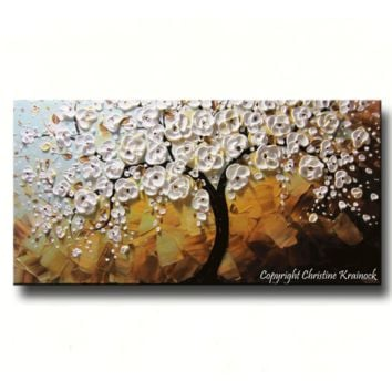 CUSTOM Art Abstract Painting White Cherry Tree Painting Flowers Floral Textured Blue Gold