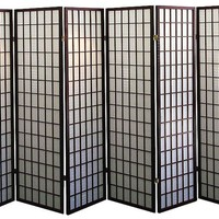 Legacy Decor Japanese Oriental Style Room Screen Divider, 6 Panel Espresso Color