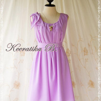 A Party Dress One Shoulder Layered Bow Dress Lilac Dress Prom Dress Party Bridesmaid Dress Wedding Dress Anniversary Dress