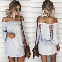 2018 Women Pullover Striped Back Hollow Off Shoulder Mini Dress