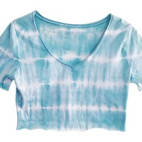 Women's Crop Top, Mint Tie Dye