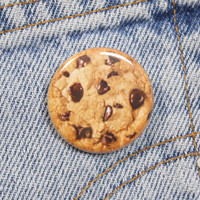 Chocolate Chip Cookie 1.25 Inch Pin Back Button Badge
