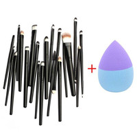 Toopoot 2017 20PCS Makeup Brushes Set Cosmetic Tools Make up Brush and 1pcs Foundation Puff Sponges Top Quality