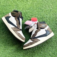 Air Jordan 1 x Travis Scott Joint counter-back hook dark brown sneakers