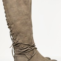 Lace Up Taupe Boots