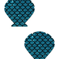 MERMAID: GLITTER TURQUOISE SCALES SEASHELL NIPPLE PASTIES