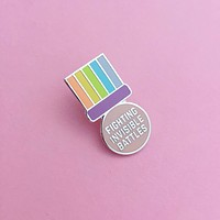 Fighting Invisible Battles Medal Enamel Pin in Pastel Rainbow