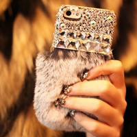 Handmade Furry Rabbit's Hair iPhone 5S 6 6S Plus Case Solid Cover  iPhone 7 7 Plus case + Free Gift Box 454