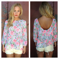 Neon Floral Print Bow Blouse