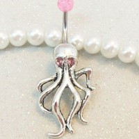 Bellybutton jewelry ring octopus with pink crystal eyes and ball 14g