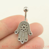belly button jewelry, Hamsa Hand Belly Button Rings,hamsa hand navel ring,friendship bellyring,bff gift,oceantime