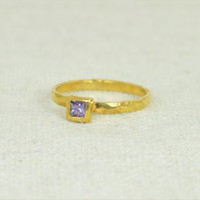 Gold Filled Square Birthstone Rings