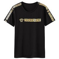 Versace 2019 new hot stamping round neck cotton men's round neck half sleeve T-shirt Black