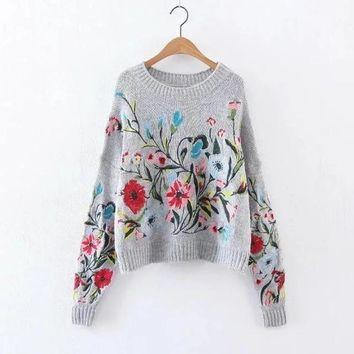 Floral Print Full Sleeved Pull Over Sweater