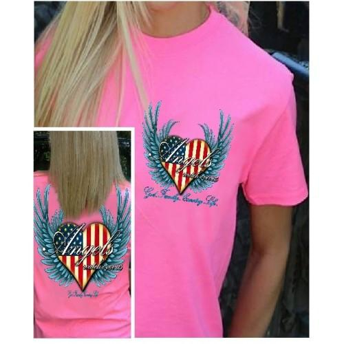 Image of Country Life Outfitters Angel Pink USA Heart American Flag Wings Vintage Girlie Bright T Shirt