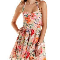 Peach Combo Floral Print Halter Skater Dress by Charlotte Russe
