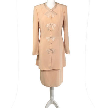 Tom Bowker Suit | Vintage Two Piece Suit | Peach Jacket And Skirt Separates With Satin And Beaded Bow Detail | Woman's Suit