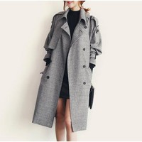 Amtify Womens Houndstooth Trench Coat