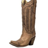 Corral Sand Braided Shaft Boots A2971