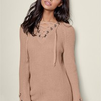 VENUS | Lace Up Long Sleeve Sweater in Tan