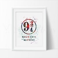 Platform 9 3/4 Hogwarts Express, Harry Potter Watercolor Art Print