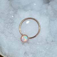 White Opal Nipple Ring, Extra Small Gold Septum Ring, Nose Hoop Earring, tragus,cartilage,helix 16g handcrafted/handmade nose stud 16 gauge