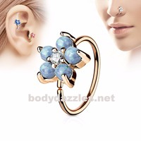 Golden Opal Light Blue Glitter Set Flower Petals CZ Center 316L Surgical Steel Hoop Ring for Nose Ear Cartilage Daith Rook