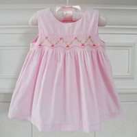 Baby Girl Pink Dress Smocked Clothing Christening Dress Gown Vintage Pink Smocked Baby Dress Vintage Baby Photo Props 6 To 9 Months
