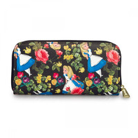 Loungefly Alice in Wonderland - Alice and Floral Pattern Zip Around Large Wallet