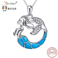 StrollGirl 925 Sterling Silver Chain Fish Necklace Zirconia Blue Enamel Mermaid Necklaces & Pendants For Women Fashion Jewelry